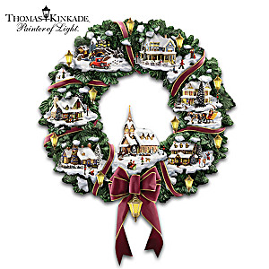 "Thomas Kinkade Illuminated ""Christmas Village"" Wreath"