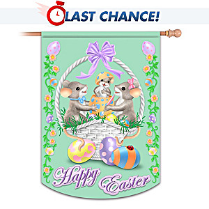 "Charming Tails ""Happy Easter"" Indoor/Outdoor Decorative Flag"