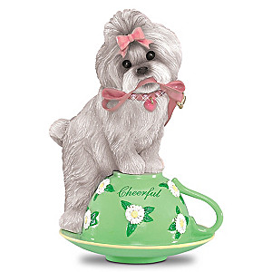 """Tea-lightfully Cheerful"" Shih Tzu Figurine With Sentiment"