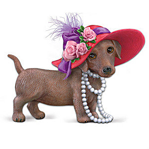 """Red Hot Mama"" Dachshund Figurine With Real Feathers"