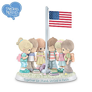Precious Moments Sculpture Of Kids Praying Around U.S. Flag