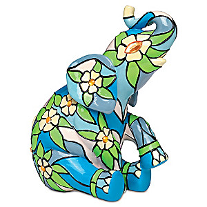 """Dogwood"" Elephant Figurine With Faux Gemstones"