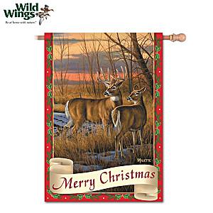 White-Tailed Deer Christmas Flag With Rosemary Millette Art