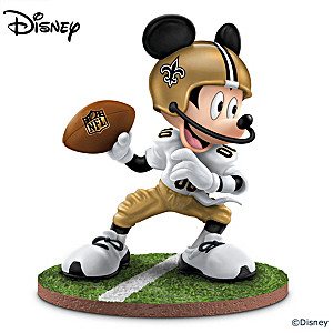 "Mickey Mouse New Orleans Saints ""Quarterback Hero"" Figurine"