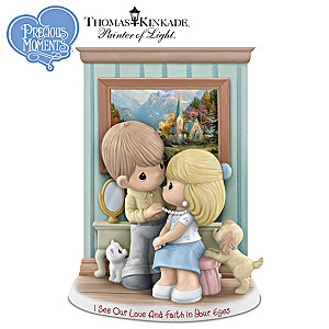 Precious Moments Thomas Kinkade 2015 Figurine With Art Print