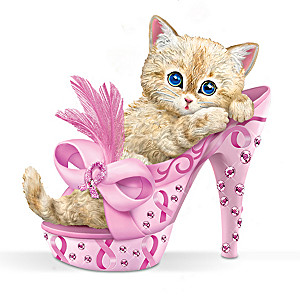 """Purr-ing For Hope"" Breast Cancer Support Kitten Figurine"