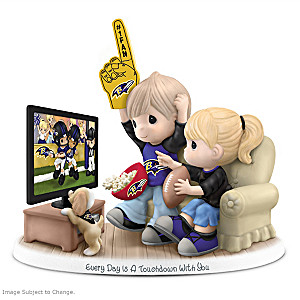 Precious Moments Baltimore Ravens Fan Porcelain Figurine