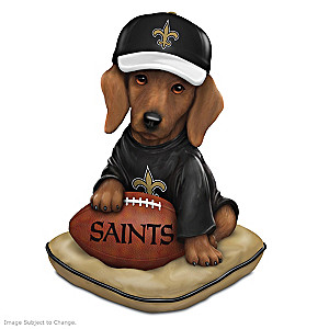 NFL-Licensed New Orleans Saints Dachshund Figurine