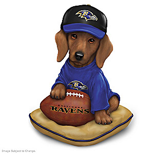 NFL-Licensed Baltimore Ravens Dachshund Figurine
