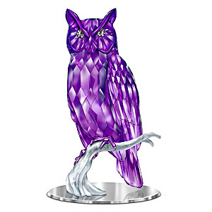 "Blake Jensen ""Wisdom Of The Amethyst"" Owl With Mirror Base"