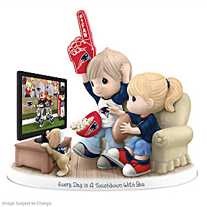 Precious Moments New England Patriots Fan Porcelain Figurine