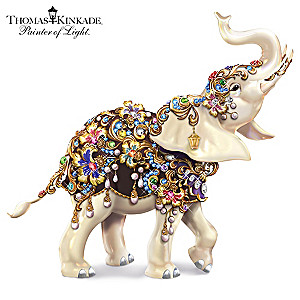 Thomas Kinkade Elephant Figurine With Swarovski Crystals