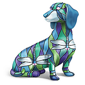Louis Comfort Tiffany-Style Dragonfly Dachshund Figurine