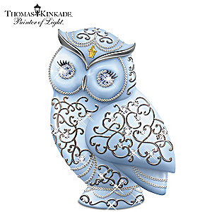 Thomas Kinkade Owl Figurine With Swarovski Crystals