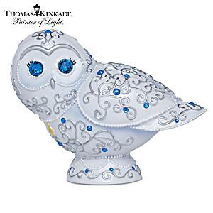 Thomas Kinkade Sparkling Splendor Crystal-Eyed Owl Figurine