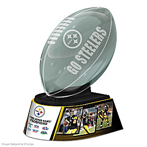 Pittsburgh Steelers Laser-Etched Glass Football Sculpture