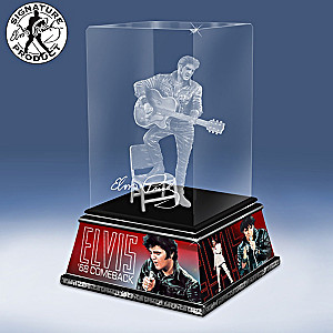 "Elvis ""Rock And Roll Legend"" Laser-Etched Glass Sculpture"