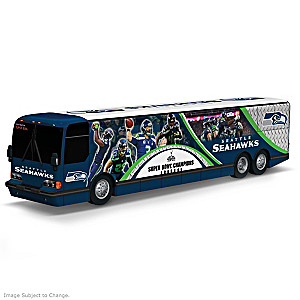 Seattle Seahawks Tour Bus Sculpture With Player Graphics