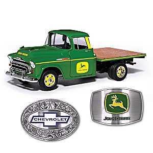 1:25-Scale John Deere Chevy Diecast Truck And 2 Belt Buckles