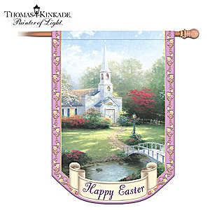 "Thomas Kinkade ""Happy Easter"" Decorative Flag"