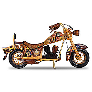 John Wayne Wooden Motorcycle With Rolling Wheels