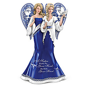 Blue Willow-Inspired Sisterly Love Angel Figurine
