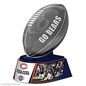 Chicago Bears Laser-Etched Glass Football Sculpture