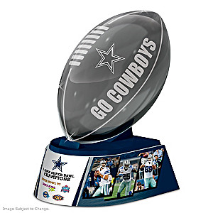 Dallas Cowboys Laser-Etched Glass Football Sculpture