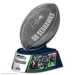Seattle Seahawks Laser-Etched Glass Football Sculpture