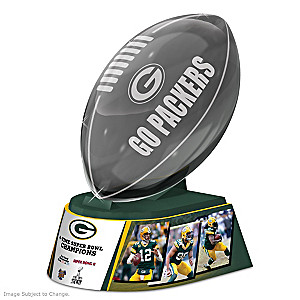 Green Bay Packers Laser-Etched Glass Football Sculpture