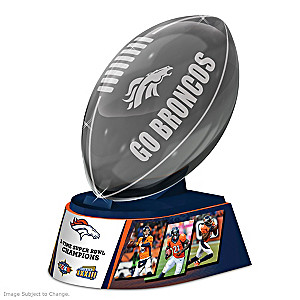 Denver Broncos Laser-Etched Glass Football Sculpture