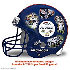 Broncos Super Bowl 50 Champs Collage Resin Helmet Sculpture