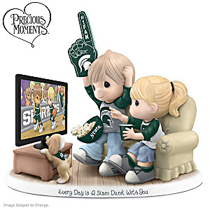 Precious Moments MSU Spartans Fan Porcelain Figurine