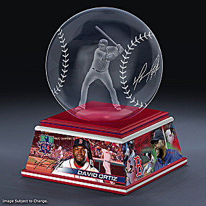 David Ortiz Laser-Etched Glass Baseball Sculpture