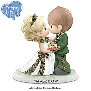 "Precious Moments ""The Hunt Is Over"" Camo Wedding Figurine"