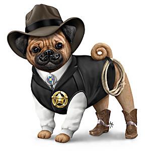 """Sheriff S. Paws"" Pug Figurine"