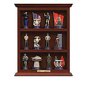U.S. Marine Corps Figurine Collection With Curio Display