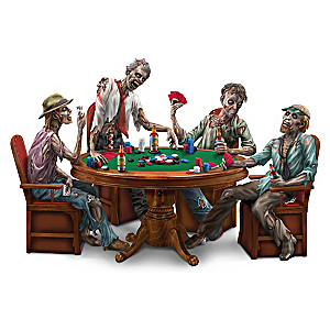 """Stalking Dead"" Zombie Poker Figurine Collection And Display"