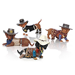 Spurs 'N Fur Dachshund Cowboy Figurine Collection
